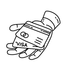 credit card icon doodle hand drawn or outline vector image
