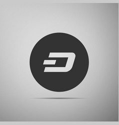 cryptocurrency coin dash icon isolated on grey vector image