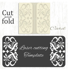 Cut and fold card template vector