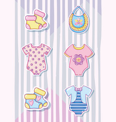 Cute baby cartoons collection vector
