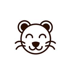 Cute face tiger animal cartoon icon thick line vector