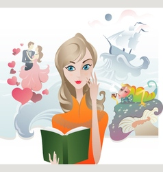 Cute Girl reading a Book vector