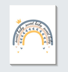 cute sticker colorful rainbow with sweet baby vector image