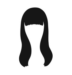 Dark longback hairstyle single icon in black vector