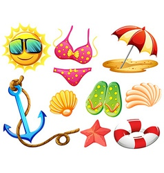 Different things used during summer vector image