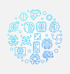 digital brain round blue outline concept vector image
