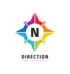 direction compass concept logo design letter n vector image