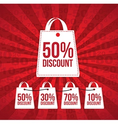 Discount over red and lines background vector
