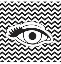 eye silhouette sticker on pop art zig zag linear vector image