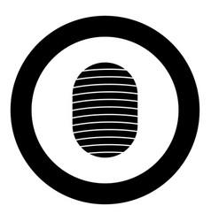 fingerprint icon black color in circle vector image