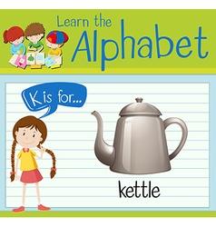Flashcard alphabet K is for kettle vector image
