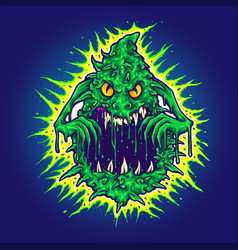 Ghost cannabis weed monster vector