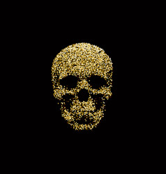 Golden sparkling human skull vector