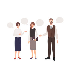 group office workers or colleagues talking to vector image