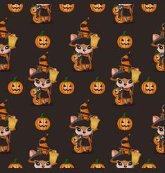 halloween cute cartoon deer and pumpkin vector image