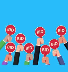 Hand holding auction paddle bidding concept vector