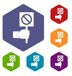 Hand showing stop signboard icons set hexagon vector