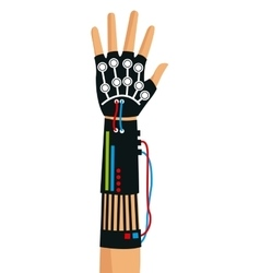 Hand using wired glove device vr technology vector