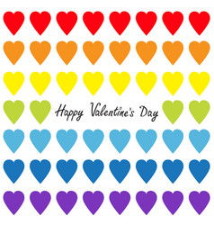 happy valentines day rainbow heart set gay flag vector image