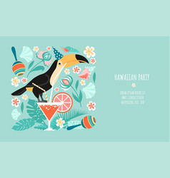hawaiian party banner template with toucan vector image