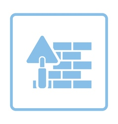 Icon of brick wall with trowel vector image