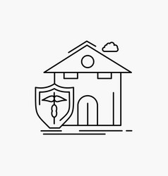 Insurance home house casualty protection line vector