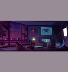 Interior of hotel bedroom night background vector