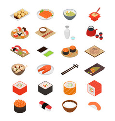 Japanese food concept icons 3d isometric view vector