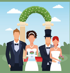 Just married couples standing over floral arch and vector