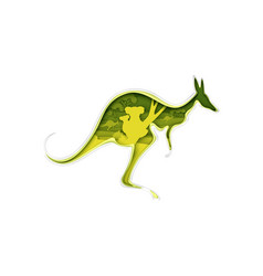 kangaroo silhouette with australian nature koala vector image
