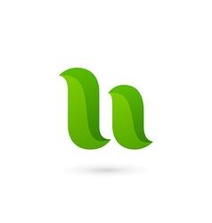 Letter U eco leaves logo icon design template vector image
