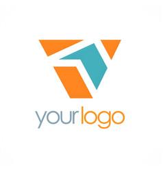 letter v shape color logo vector image