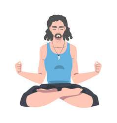 male with closed eyes and crossed legs sitting in vector image