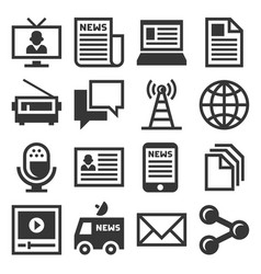 media news icon set vector image