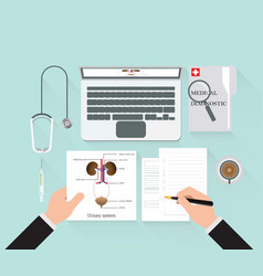 medical diagnostics conceptual on work table vector image