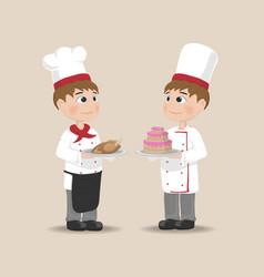 men cooking chief cartoon characters vector image