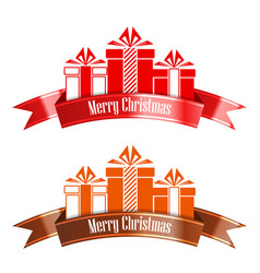 Merry christmas banner ribbon new year concept vector