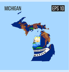 Michigan map border with flag eps10 vector