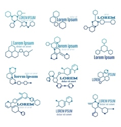 Molecule structure logo or biology model sign vector