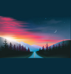 Night road through forest and mountains red and vector