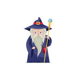Old wizard with magical staff vector