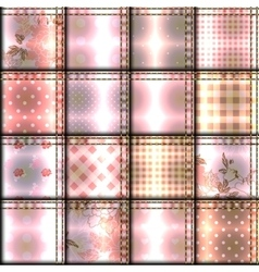 Pink patchwork pattern vector