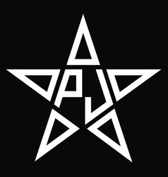 Pj logo monogram with star shape design template vector