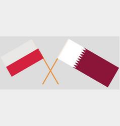 Qatar and poland the qatari and polish flags vector