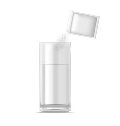 Realistic glass of water and medicine dose of vector