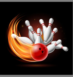 red bowling ball in flames crashing into pins vector image