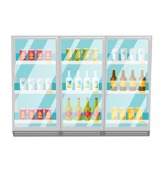 refrigerator with bottles and cans cartoon vector image