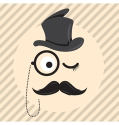 Retro vintage gentleman in a hat cylinder with vector