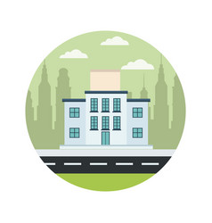 School building structure street city scape vector
