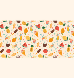 seamless pattern with summer cocktails ice vector image